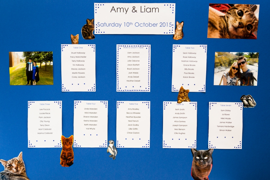 Photo of our seating chart - a blue A1 board with small squares detailing the names of each person at each table, each square decorated with blue gemstones. The seating chart itself is decorated with photos of Liam and I, along with pictures of Tilly and Sooty.