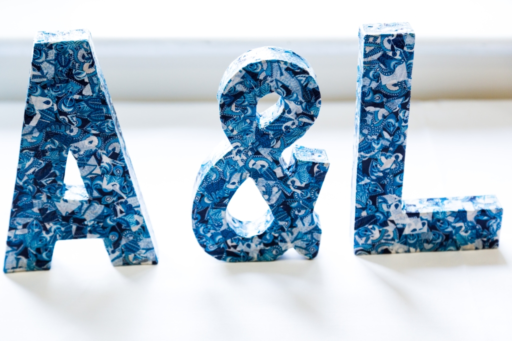"""Decorative """"A&L"""" that I made for our wedding out of blue decoupage paper and MDF lettes."""