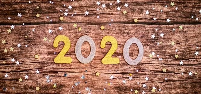 2020 on Wooden Background