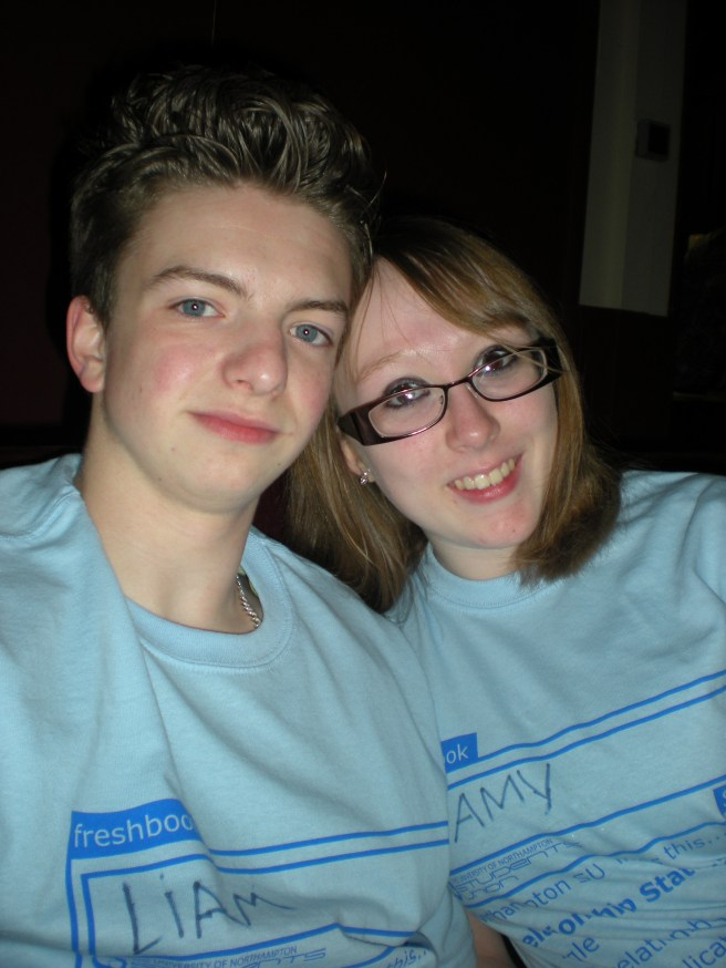 Liam and I at a T-Shirt party during freshers' week - September 2010.
