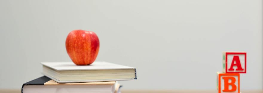 Children's Books with Apple and Building Blocks