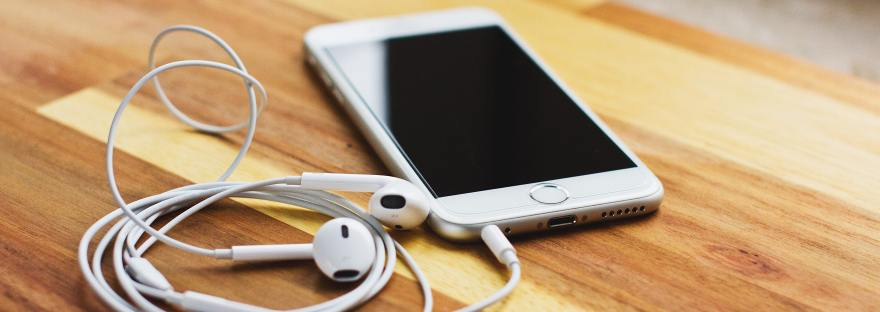 iPhone with Earphones