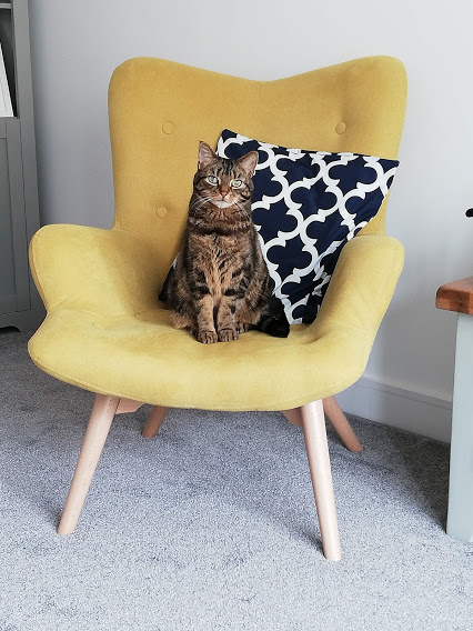 Loving life on the yellow armchair