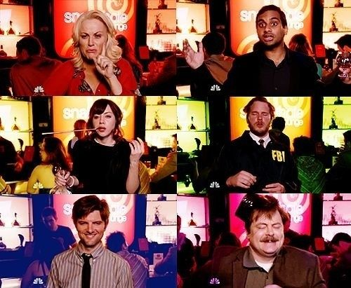 Parks & Recreation - The Fight: Collection of stills from the episode showing each of the characters in their drunk state. Top left to right: Leslie, Tom, April, Andy, Ben, and Ron.