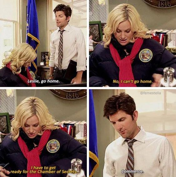 """Screenshot from Parks & Recreation - Flu Season: Ben approaches a sick looking Leslie, who is dressed in a coat and wearing a scarf and tells her """"Leslie, go home."""" She replies """"No, I can't go home I have to get ready for the Chamber of Secrets."""" He corrects her with """"Commerce."""""""