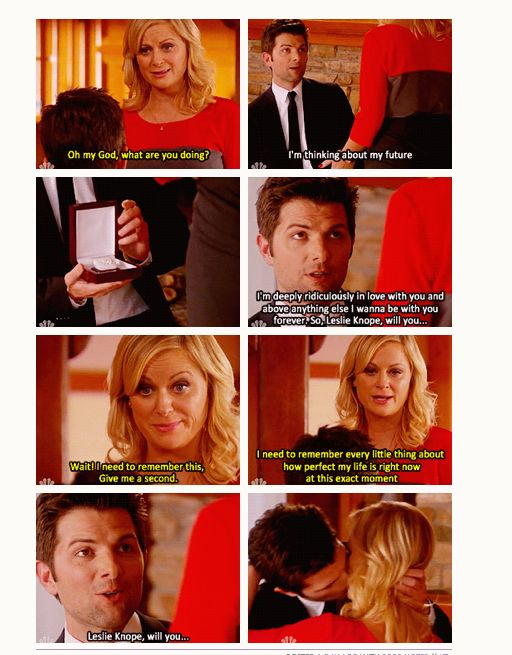 """Parks & Recreation - Halloween Surprise: Ben, dressed in a suit, gets down on one knee. Leslie asks """"Oh my god, what are you doing?"""" He replies """"I'm thinking about my future"""" and opens a box to reveal an engagement ring. He tells her """"I'm deeply ridiculously in love with you and above everything else I wanna be with you forever. So, Leslie Knope, will you..."""" She cuts him off and says """"Wait. I need to remember this. Give me a second. I need to remember everything little thing about how perfect my life is right now at this exact moment."""" He asks again """"Leslie Knope, will you-"""" and she interrupts him with a kiss."""