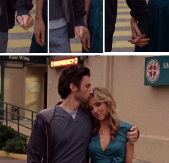 Stills from Scrubs showing Elliot and JD getting back together. They very slowly take each other's hand, JD puts his arm around her and kisses her forehead as they walk out of the hospital.