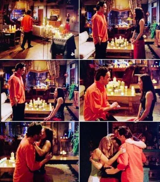 Screenshots of Monica and Chandler's engagement in Friends. Chandler discovers the apartment covered in candles, where Monica is waiting for him. She gets down on one knee, and he joins her and presents the ring. She accepts the proposal and they kiss. They are joined by Rachel, Joey and Phoebe, and the five of them hug.