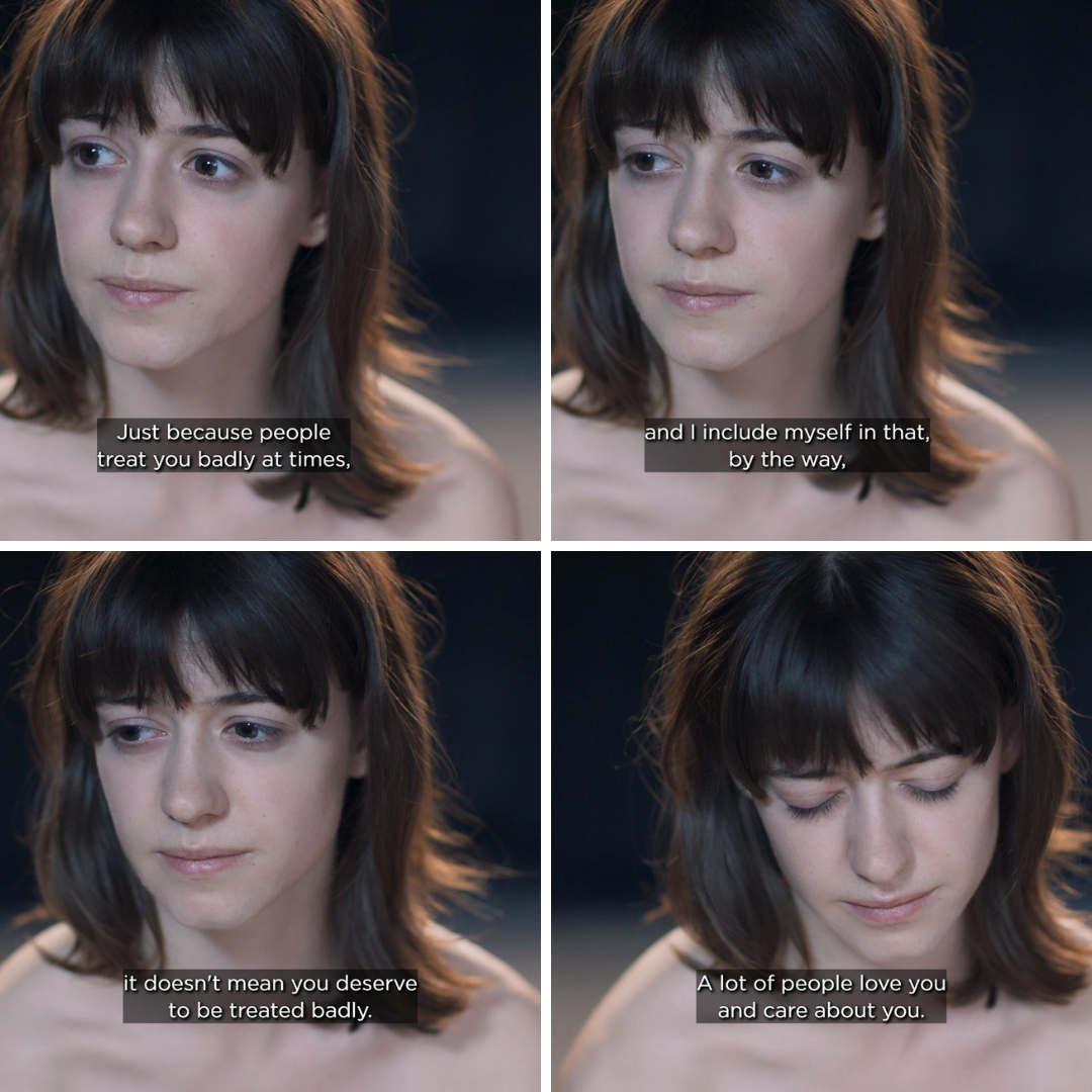 """Normal People - Episode 9 - Close-up of Marianne looking very tired and sad. Connell's voice over plays over the scene, telling her """"Just because people treat you badly at times, and I include myself in that, by the way. It doesn't mean you deserve to be treated badly. A lot of people love you and care about you."""""""