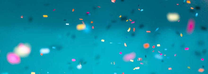 Confetti against blue background
